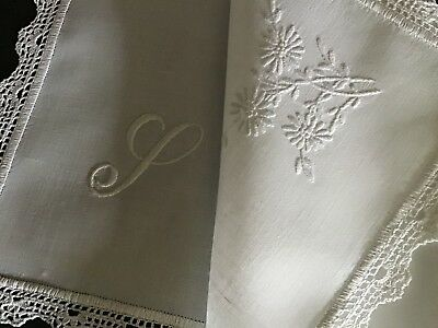 Lovely Antique Linen Tray Cloth ~ Lace/whitework Mono.
