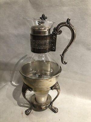 Vintage F B Rogers Silver Co Metal & Glass Coffee/Tea Warmer Carafe Stamped