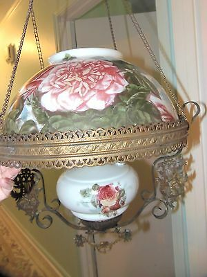 """ANTIQUE VICTORIAN Ceiling LIGHT HAND PAINTED FLOWERS Roses OIL LAMP 14"""" Shade"""