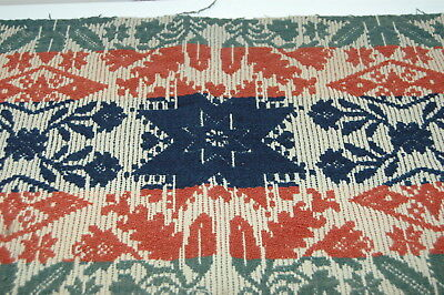 Antique Brick Red Green Blue Coverlet Star Piece