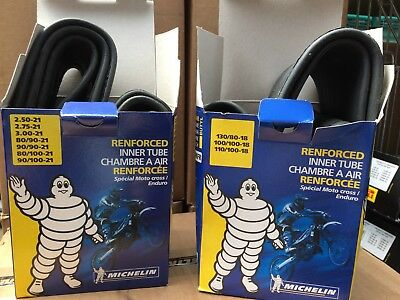 "Michelin Inner Tube Set Pair 21"" Front 18"" Rear Heavy Duty Motocross Enduro EVO"
