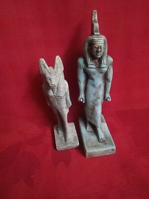 Rare Ancient Egyptian 2 Statues of God Sekhmet & ISIS (654 BC)