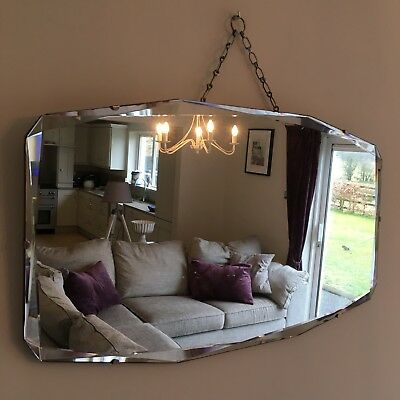Vintage Bevelled Edge Frameless Antique Mirror 1930-40's Original Chain 66x38cm