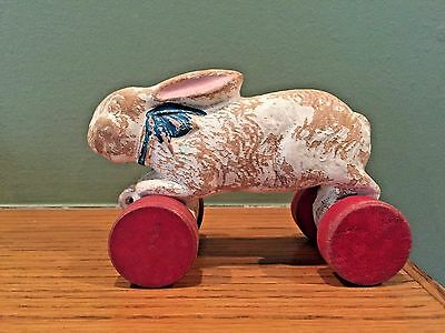 Antique Wood Easter Bunny Rabbit Pull Toy