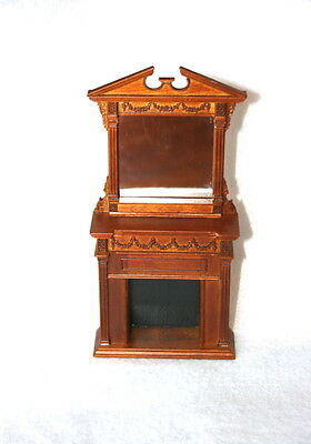 Dollhouse Miniature Wooden Walnut Furniture  Fire Place With Mirror