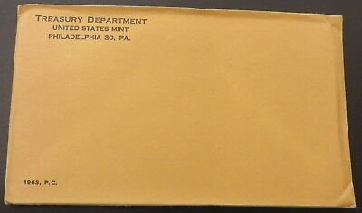 1963 90% Silver United States Mint Proof Set 5 Coins W/ SEALED Envelope #127