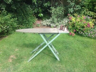 Vintage Wooden Ironing Board & Cast Iron....