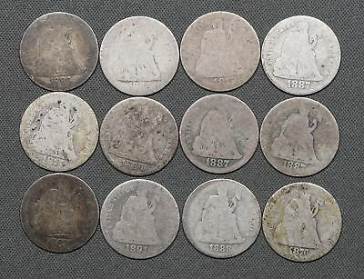 Lot of 12 Seated Liberty Dimes, Heavy Circulated
