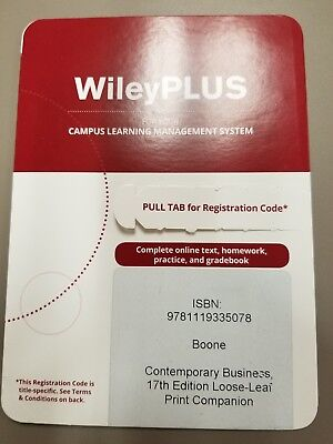 Wiley plus access code guaranteed to work with any course same wileyplus contemporary business boone 17th edition unused access code fandeluxe Image collections