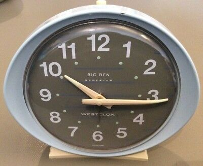 Blue And Cream Vintage Big Ben Repeater Alarm Clock, Westclox Scotland