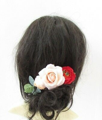 Red Peach Eucalyptus Leaf Rose Flower Hair Comb Bridesmaid Fascinator Clip 6001