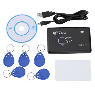 125KHz RFID/ID Card Reader Writer Copier Duplicator with 6 Cards/Tags Kit Set