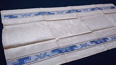 old linen kitchen Runner Towel with blue and yellow stripes and Art Deco pattern