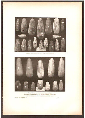 1900. PREHISTORY. FLINT TOOLS FROM STONE AGE. Antique print. H.Kraemer.