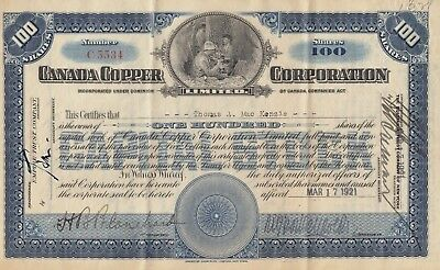 Canada Copper Mining Corp 1921 stock certificate, 100 shares