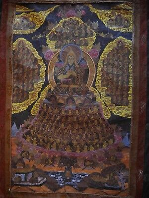 Rare Old Tibetan Thangka depicting the Gelupa's Buddhist Lineage