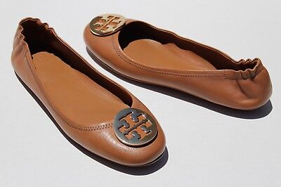 16775aca73ca TORY BURCH  Minnie  Travel Ballet Flat Royal Tan Leather Gold Logo Shoes Sz  10