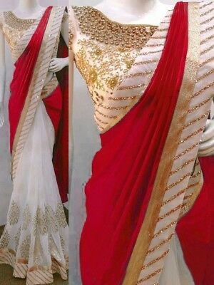Red Bollywood Indian & Pakistan Designer Georget Casual Saree Party For Women