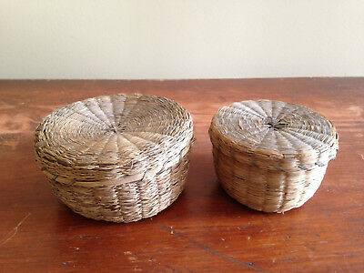 Early Antique Handmade Pine Needle Sewing Baskets Signed 1913