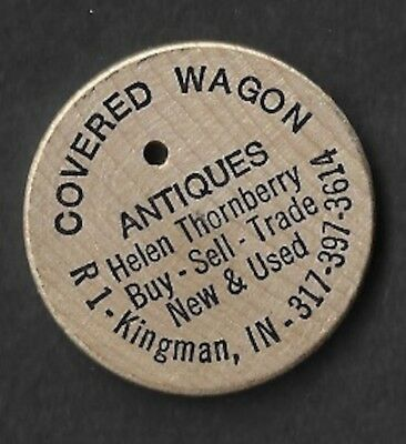 Vintage Wooden Nickel Covered Wagon Antiques Kingman Indiana