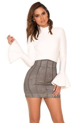 House of CB Grey Suede Mini Skirt Size XS