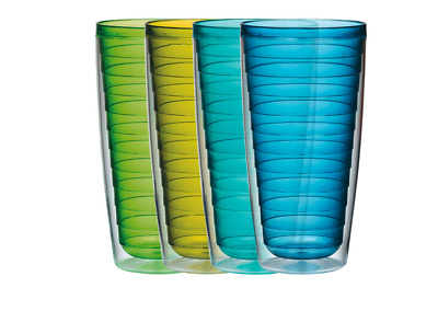 Insulated Plastic Tumblers BPA free 4 Pc Set BLUE Plastic Cups Reusable Water