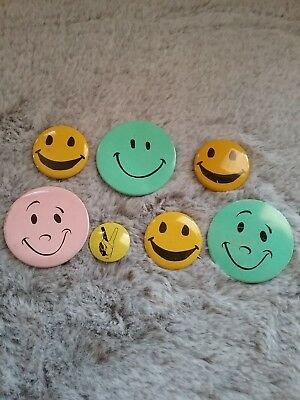 Vintage Smiley Face Pin Pinback 1960s Metal (6)   PEACE fingers sign button (1)