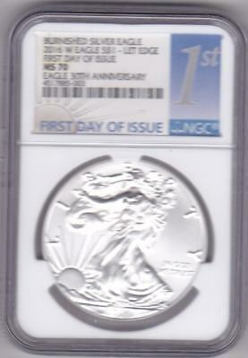 2016 W Burnished Ms70 Silver Eagle 30Th Anniversary First Day Issue Ngc Let Edge