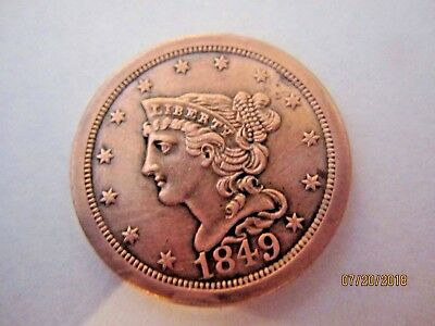 1849 Half Cent STRONG DETAIL BRAIDED FULL LIBERTY LARGE DATE 100% GENUINE