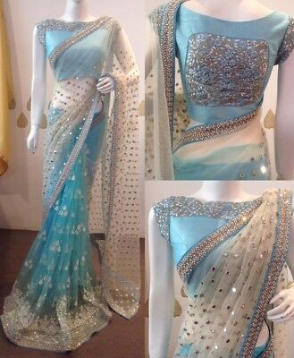 Indian Designer Embroidered Bollywood Saree Party Wear Casual Saree For Women