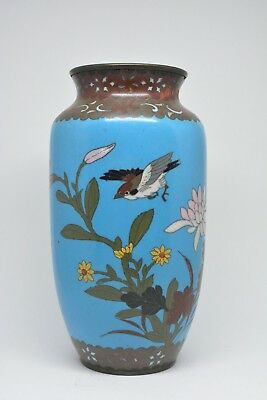 Antique Japanese Cloisonne Vase ~ 8.25 inches Tall ~