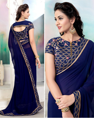 Bollywood Designer Embroidery Georget Casual Sari and Party Wear Sari For Women