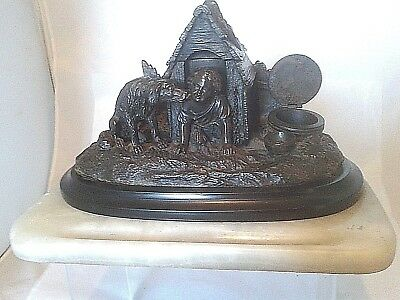 Antique French bronze pen and ink stand depicting a child and a dog
