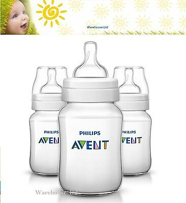 New Philips Avent Classic+ 9oz  Baby Feeding Bottle Triple Pack