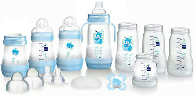 MAM Easy Start Anti-Colic Bottle Starter Set Blue Includes Accessories  -Blue
