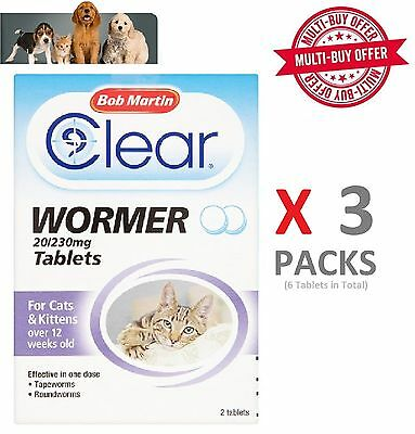 Bob Martin Clear Wormer Tablets for Cat & Kitten Wormer x 3 Packs 6 Tablets