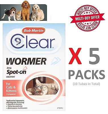 Bob Martin Clear Spot on Wormer for Cat & Kitten over 1kg x 5 Packs (10 Tubes)