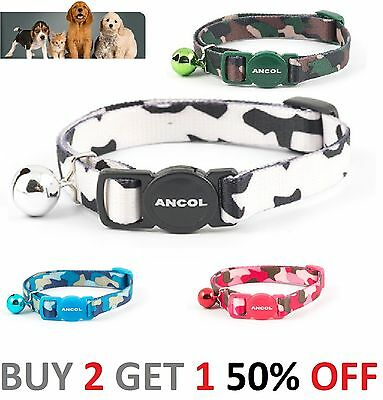 Ancol Camouflage Safety Release Cat Collar Black & White, Green, Blue, Pink