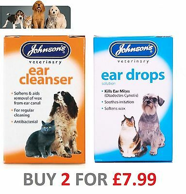 Dog Cat Johnsons Ear or Cleanser Drops Wipes Kills Ear Mites - Softens Waxs