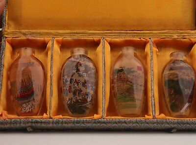 4 China glass interior painting snuff bottle double qingming riverside scene