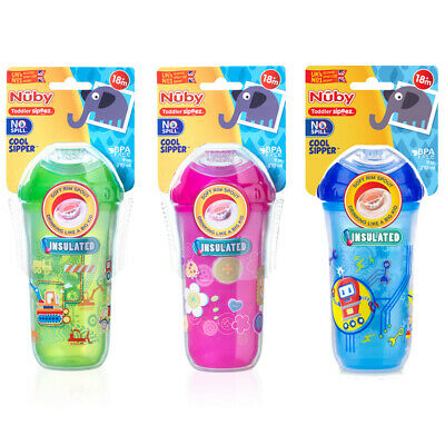 Nuby Insulated Cool Sipper Toddlers' Cup, Kid's Drinking Container, Beaker, 18m+