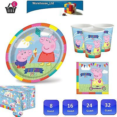 PEPPA PIG PARTY SUPPLIES CARNIVAL COMPLETE KITS FOR 8 to 40 GUEST, Plates Cups