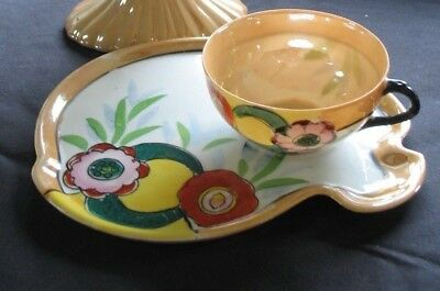 Hand Painted Vintage Lusterware Cup And Saucer/ Snack plate  Made In Japan