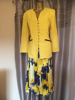 Gina Bacconi Ladies Jacket & Skirt Suit Wedding Races Mother Of Bride 16 Lined