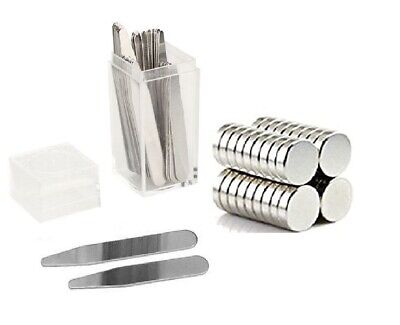 "Pick Size! 20 Metal Collar Stays 2.2"" 2.5"" 2.75"" 3"" + 10 Magnets In Plastic Box"