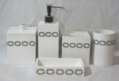 Mike & Ally Five Piece Bathroom Accessory Set White & Clear Jeweled Links New