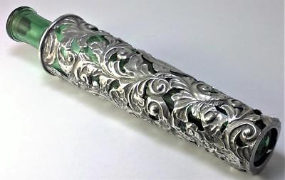 Antique hallmarked Sterling Silver Cased Green Scent Bottle (17.5 cm long)– 1901