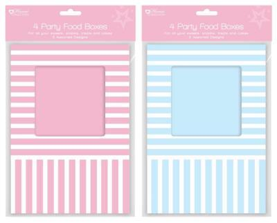 Pink / Blue Striped Cupcake / Muffin / Cake Box Window Party (Holds 4 Cakes)