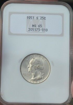 Flashy White Old NGC 1951S Washington Quarter