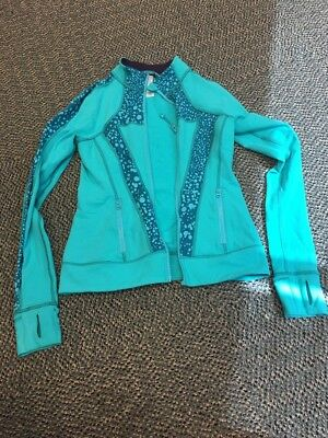 ivivva size 14 teal and turquoise zip up sweatshirt very good condition